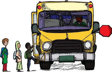 Diverse group of children board a big yellow schoolbus