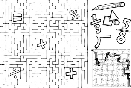 Coloring page math maze with interchangeable symbols with solution Illustration
