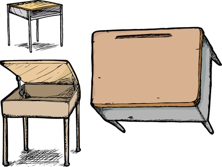 vintage furniture: Three different school desk hand drawings over white Illustration