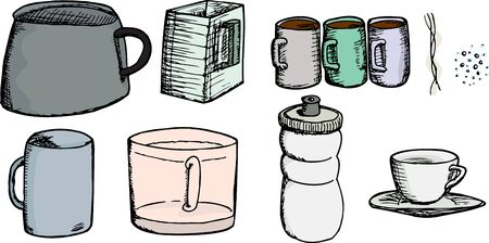 Set of cups, mugs, pot, pitcher, bottle, steam and effervescence Vector