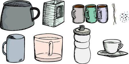 effervescence: Set of cups, mugs, pot, pitcher, bottle, steam and effervescence Illustration