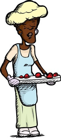 homemaker: Middle-aged woman with baked desserts and blue apron Illustration