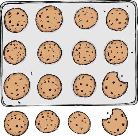 Lade van 12 chocolate chip cookies op metalen dienblad met 4 uit de lade