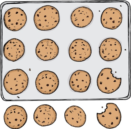 Tray of 12 chocolate chip cookies on metal tray with 4 off the tray Illustration