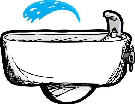 Ivory wand-water drinken fontein met water uitloop Stock Illustratie