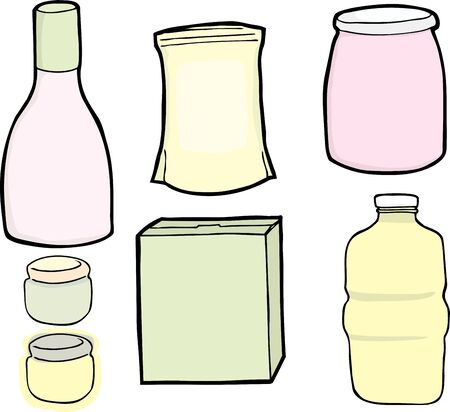 salad dressing: Drawings of a generic bottle, jars, box and bag used for food and drinks. Illustration
