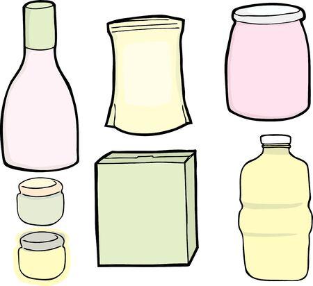 salatdressing: Zeichnungen eines generischen Flasche, Dosen, Karton und Beutel f�r Lebensmittel und Getr�nke verwendet.
