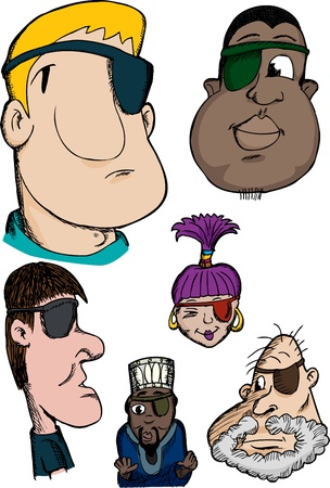 Group of six diverse cartoon heads with an eyepatch Vector