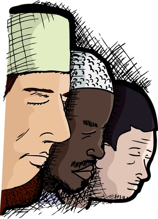 Muslim men of different skintones next to each other for the Islamic prayer service Vector