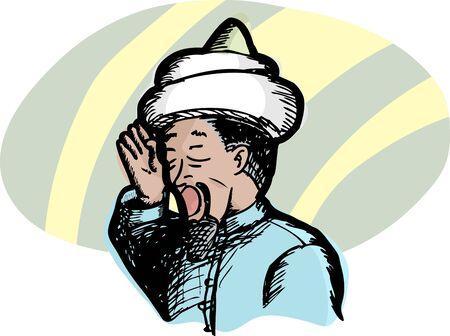 イスラム聖職者祈りへのイスラム教の呼び出しを唱える彼の耳に右手が発生します。