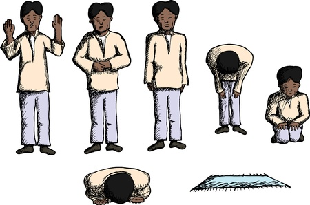 muslim prayer: Man in different prayer positions with prayer mat