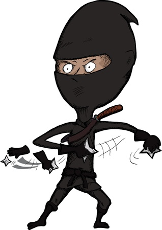 ninjutsu: Cartoon ninja over white throws shurikin stars very fast Illustration