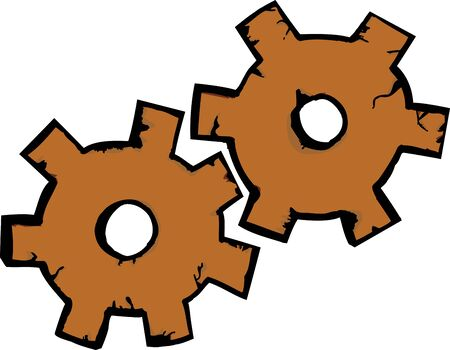 Illustration of a pair of rusty gears 向量圖像