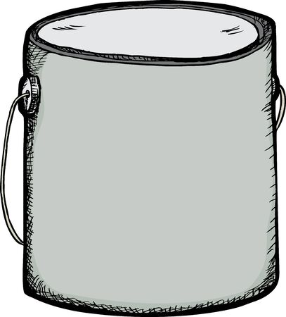 paint container: Hand-drawn large generic paint can with blank label Illustration