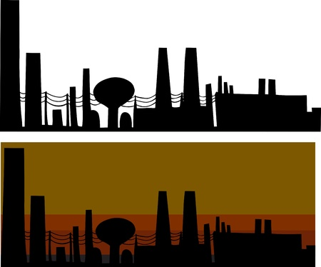 Silhouette industrial scene with factories in isolated and smoggy background Vector