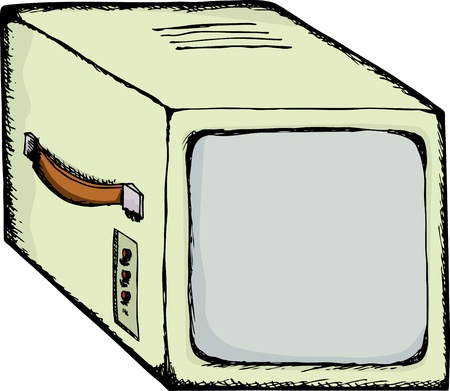 readout: Drawing of a vintage video security monitor with carrying handle