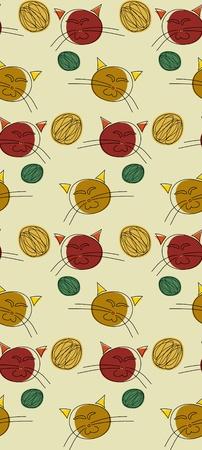 Seamless background of cute cats and balls of yarn Çizim