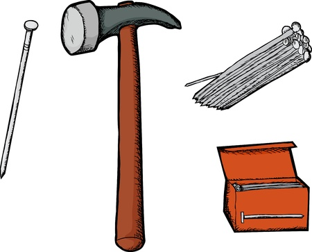 Hammer illustration with single, grouped and boxed nails Vector