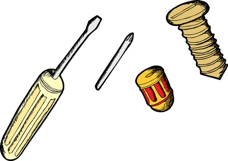 Cartoons of different screwdrivers and a screw over white