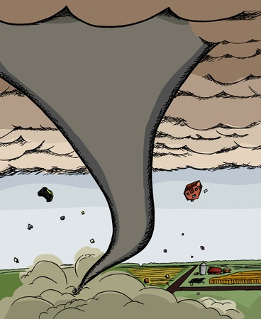 강력한 토네이도 깔때기 구름은 하늘로 자동차와 집가 발생합니다