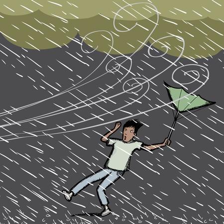 vent: Jeune homme hispaniques pris dans une rafale de vent et de pluie d'orage