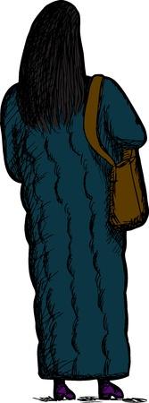 Achter-view van de vrouw in lange winter jas met portemonnee Stock Illustratie
