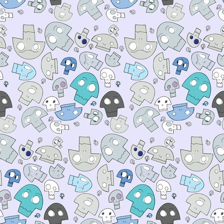 Strange human, cyclops and ape cartoon skulls in seamless background pattern Vector