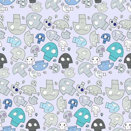 Strange human, cyclops and ape cartoon skulls in seamless background pattern Stock Vector - 11377599
