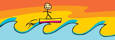 Smiling stick figure on surfboard over high waves