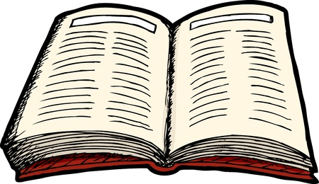 Illustration of an isolated generic open hardcover book Illustration