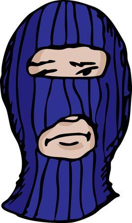 Person pin-striped ski mask over white background Stock Vector - 11377617