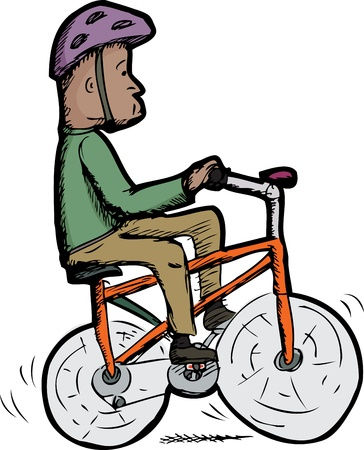 Isolated man with helmet rides a wobbly bike Vector