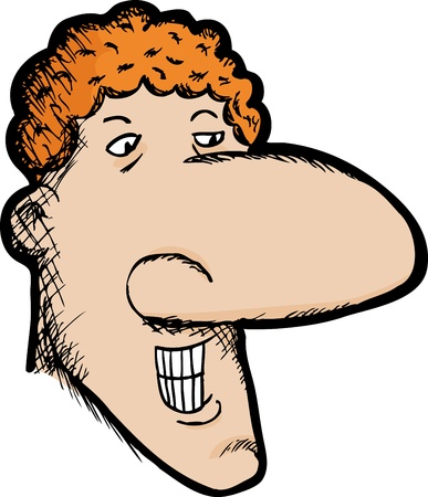 cartoon nose: Smiling curly-haired Caucasian man with large nose