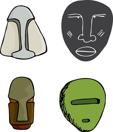 Four ancient science fiction mask illustrations over white Иллюстрация