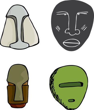 science fiction: Vier oude science fiction masker illustraties over wit Stock Illustratie