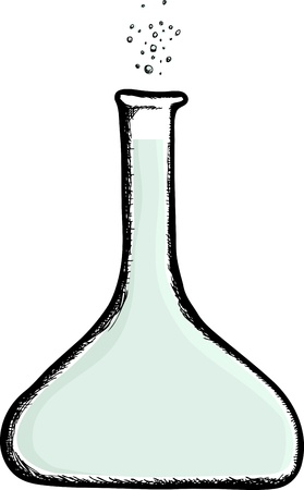 Illustration of a laboratory beaker with bubbles floating up Vector