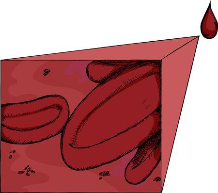 赤い血球血のドロップからのクローズ アップ