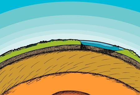 惑星地球の断面図とその雰囲気  イラスト・ベクター素材