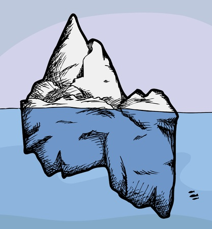 Cross section view of an iceberg above and below water  イラスト・ベクター素材