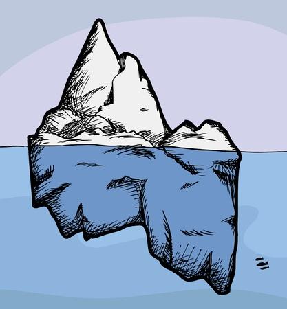 Vista en sección transversal de un iceberg por encima y por debajo del agua Ilustración de vector