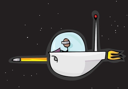 Alien stick person shoots a missile from a ship