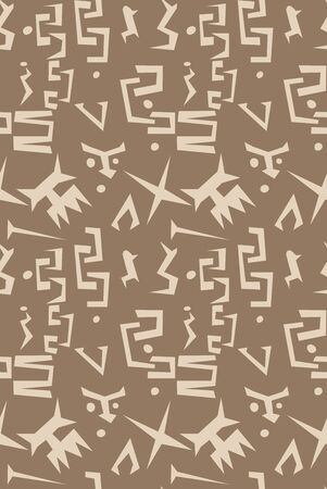 Primitive ancient animal and human seamless shapes pattern