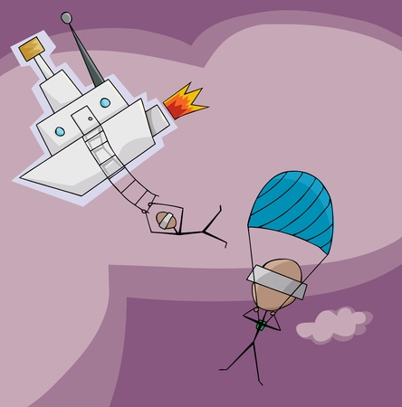 Stick figures jump out of a fantasy airship Ilustrace