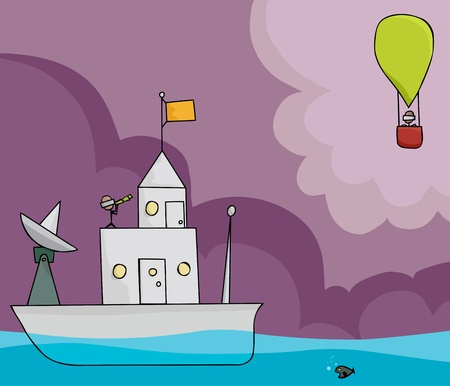 lookout: Stick figure on boat with telescope looking at a hot air balloon