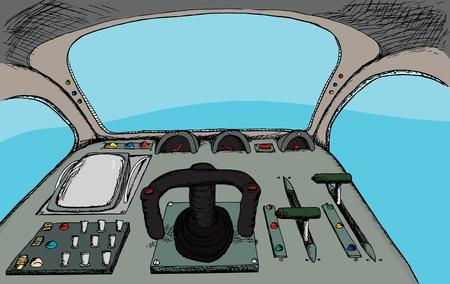 Pilot uitzicht vanaf een generieke fantasy controlekamer