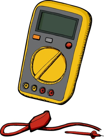 Generic multimeter with cord and probe isolated over white Stock Illustratie