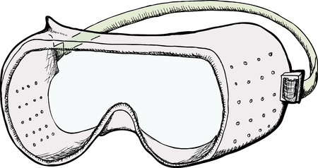 Safety goggles with ventilation holes isolated over white