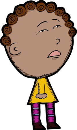 curls: Cartoon of innocent looking mixed race child Illustration