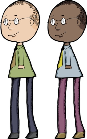 black people: Dark and light skinned versions of a smiling long-legged man Illustration