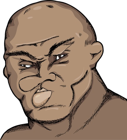 Caricature of a fighter with damaged face and cauliflower ears Vector
